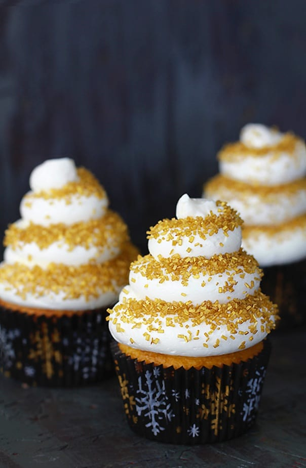 Eggnog cupcakes with spiced rum frosting
