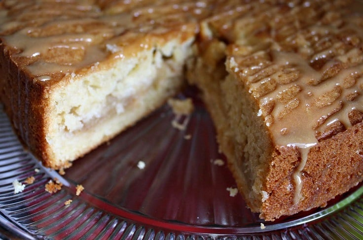 Fresh apple cake with boiled cider glaze