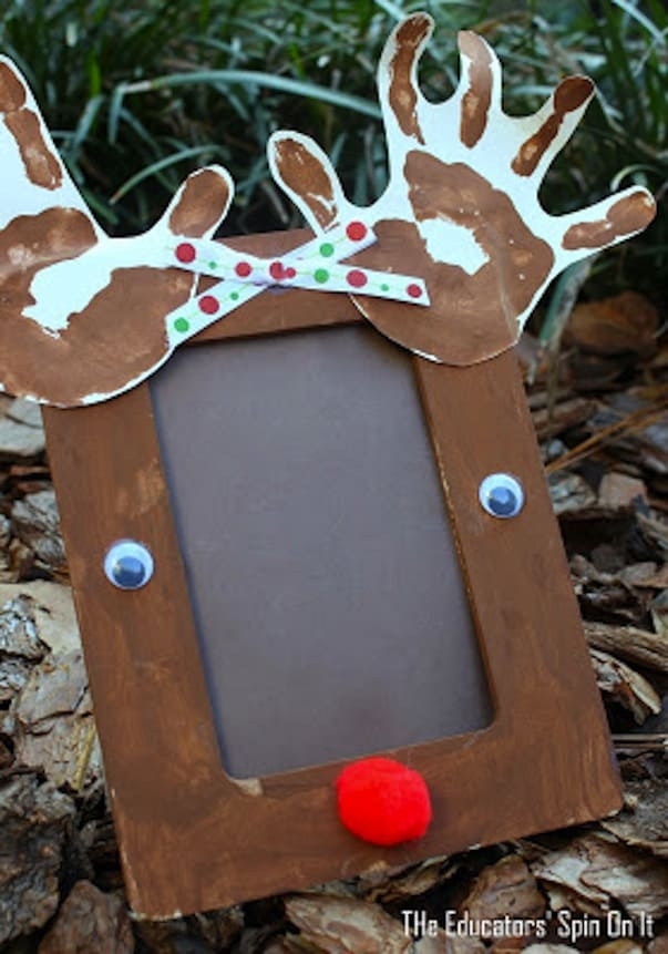 Hand print reindeer frame