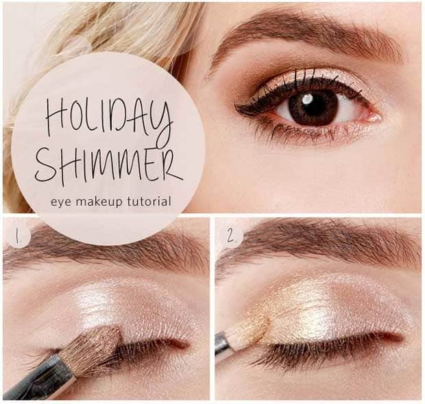 Holiday shimmer eye makeup