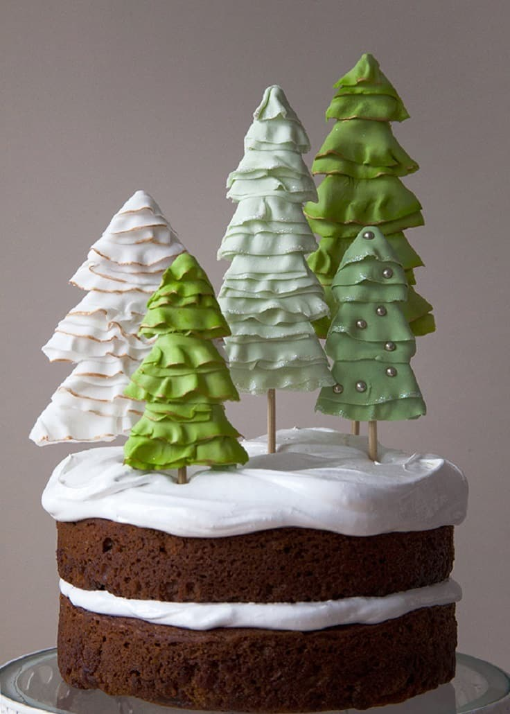 Holiday winter wonderland cake