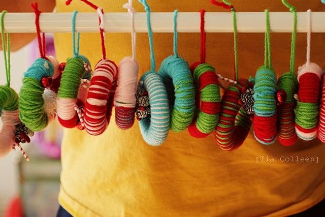 Miniature yarn wreaths