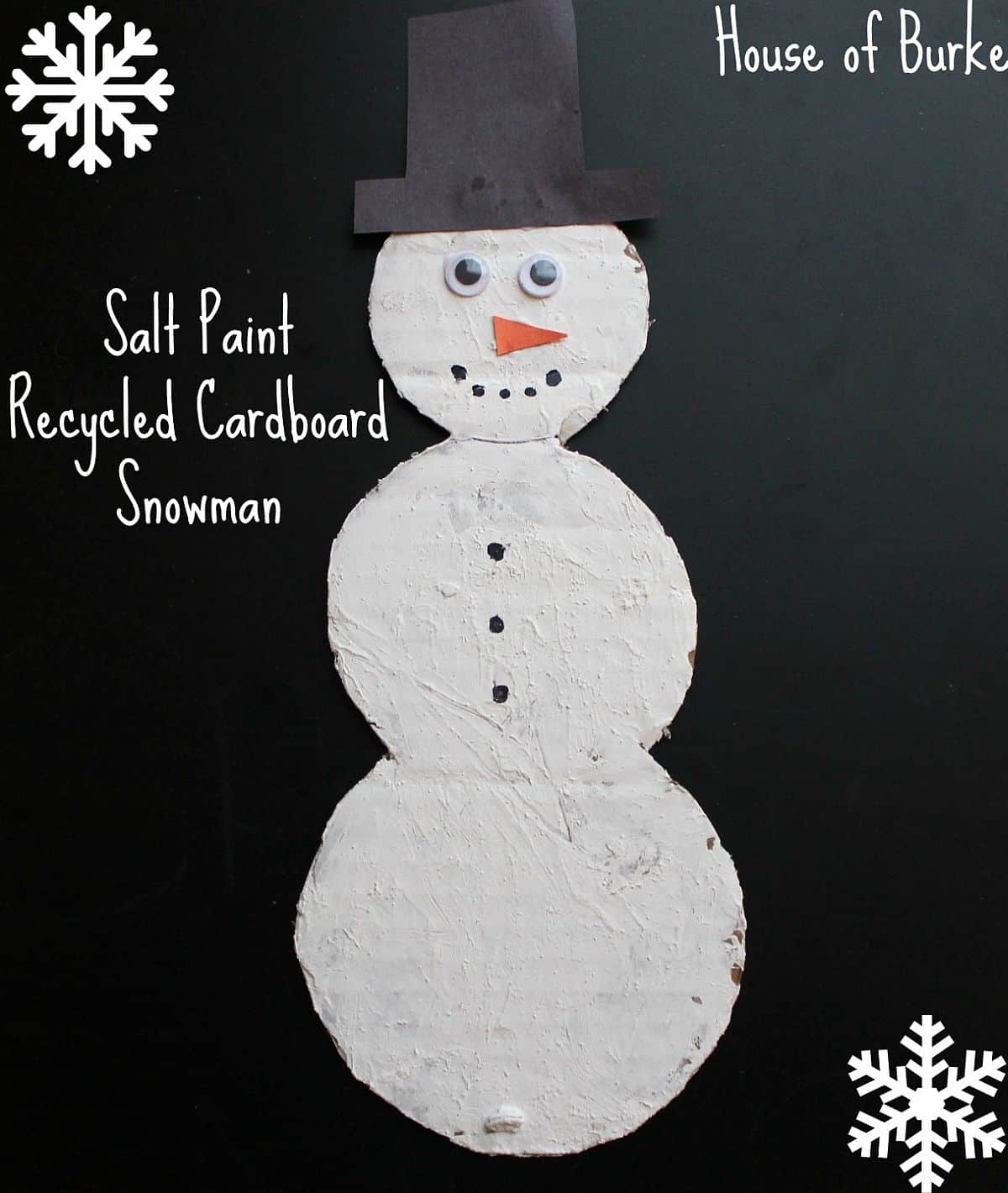 Salt paint recycled cardboard snowman