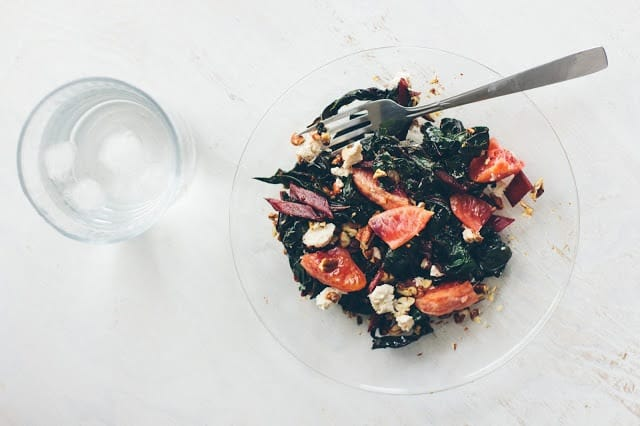 Sauteed Swiss chard with blood orange dressing