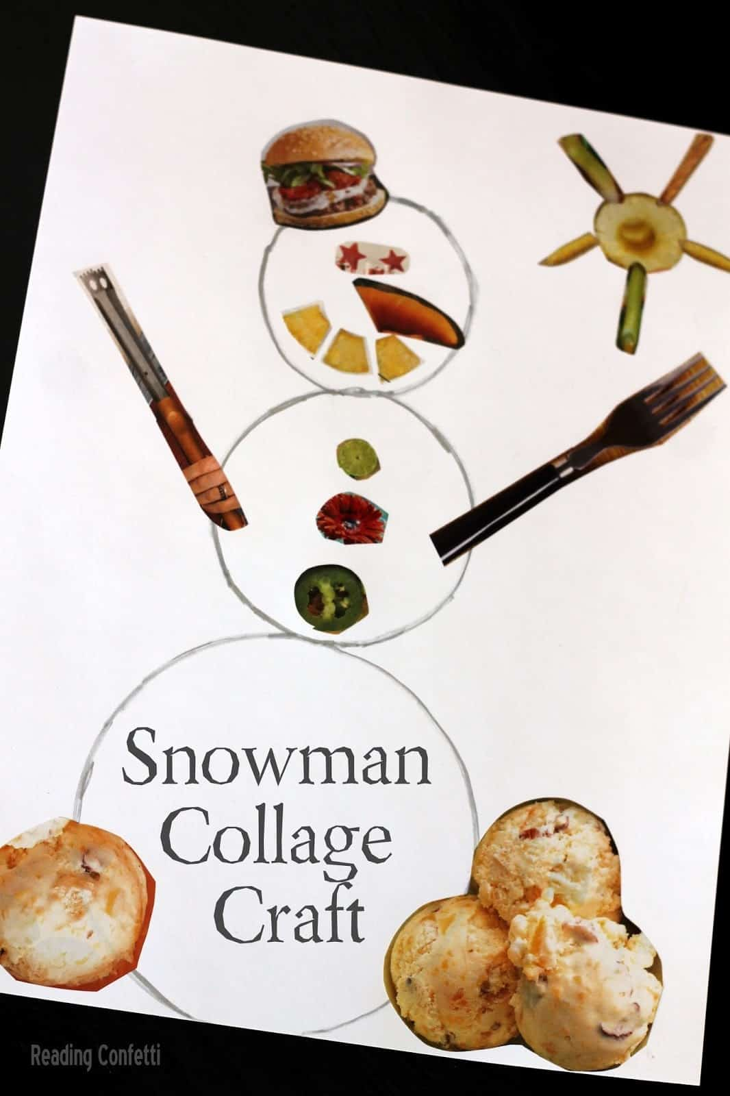 Snowman collage craft