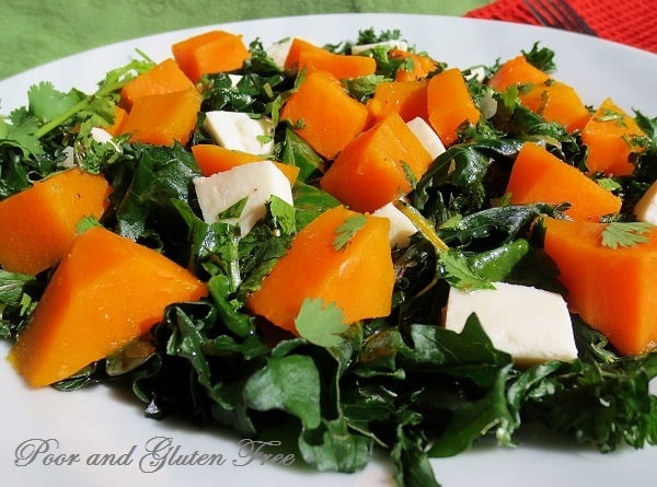 Steamed butternut squash salad with coconut lime dressing