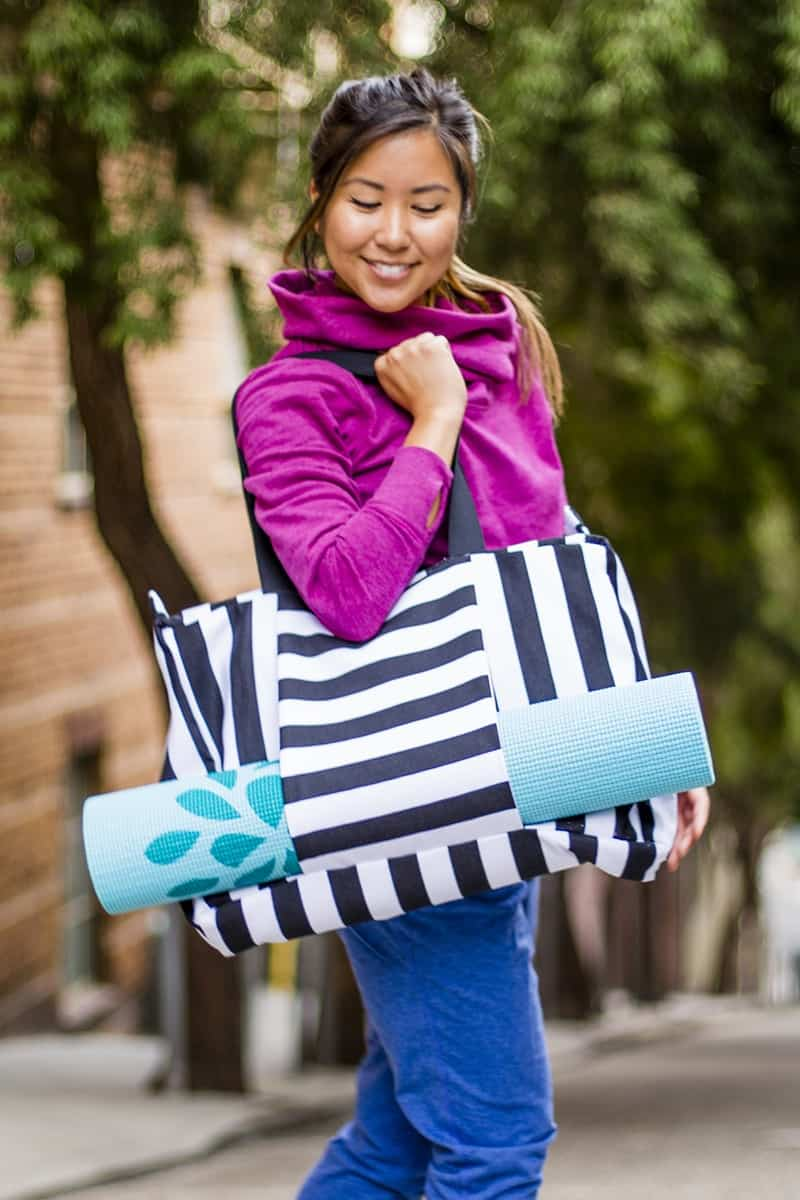 Striped gym bag
