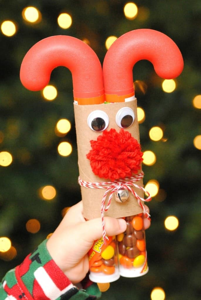 Tube candy reindeer