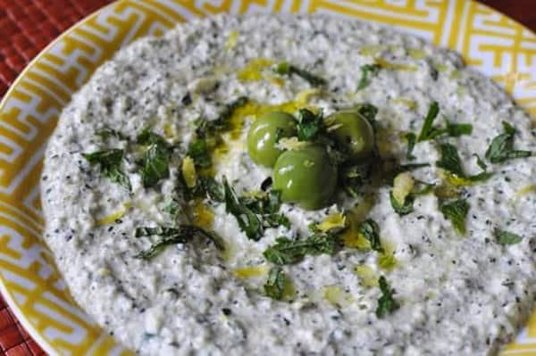 Zucchini, mint, and yogurt spread