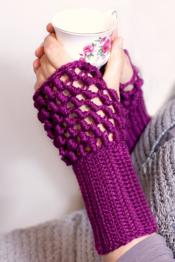 Bullion stitch fingerless gloves