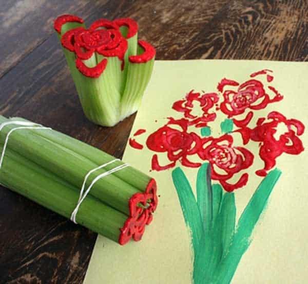 Celery stamp flower Valentines