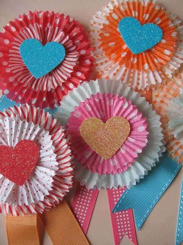 Cupcake liner heart ribbons