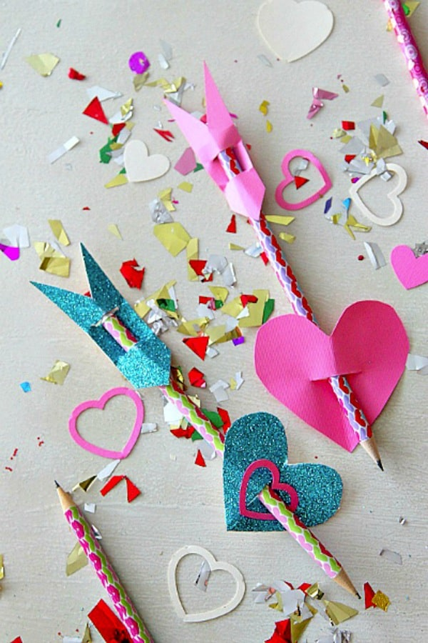 Cupid's arrow pencil toppers