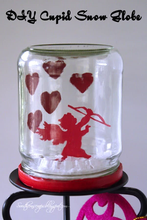 DIY cupid snow globe