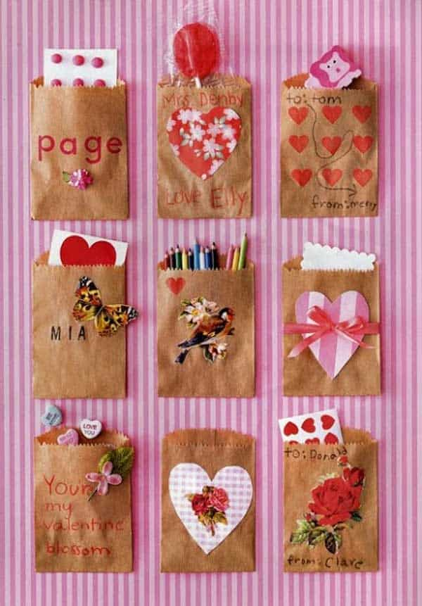 Decorated paper bag Valentines
