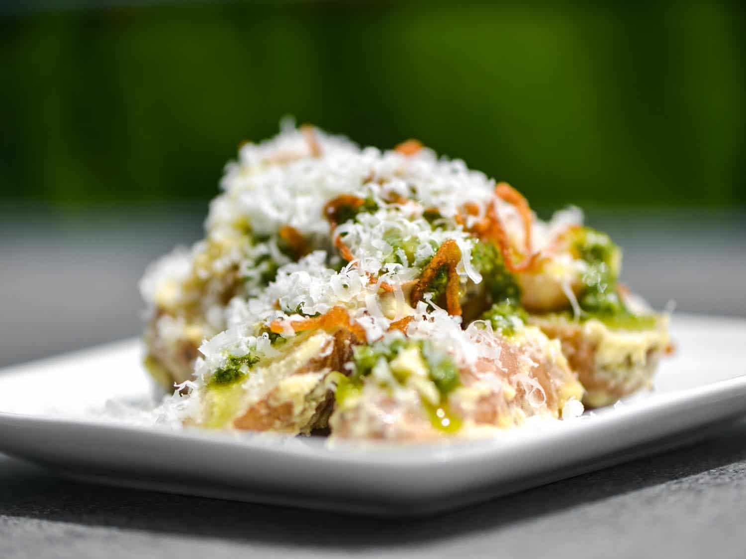 Fingerling potatpo salad with aioli, pesto, fried shallots, and pecorino