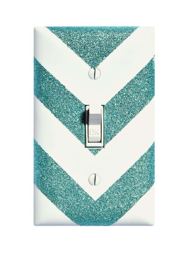 Glitter chevron light switch plate