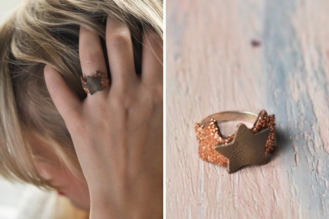 Glittery leather star ring