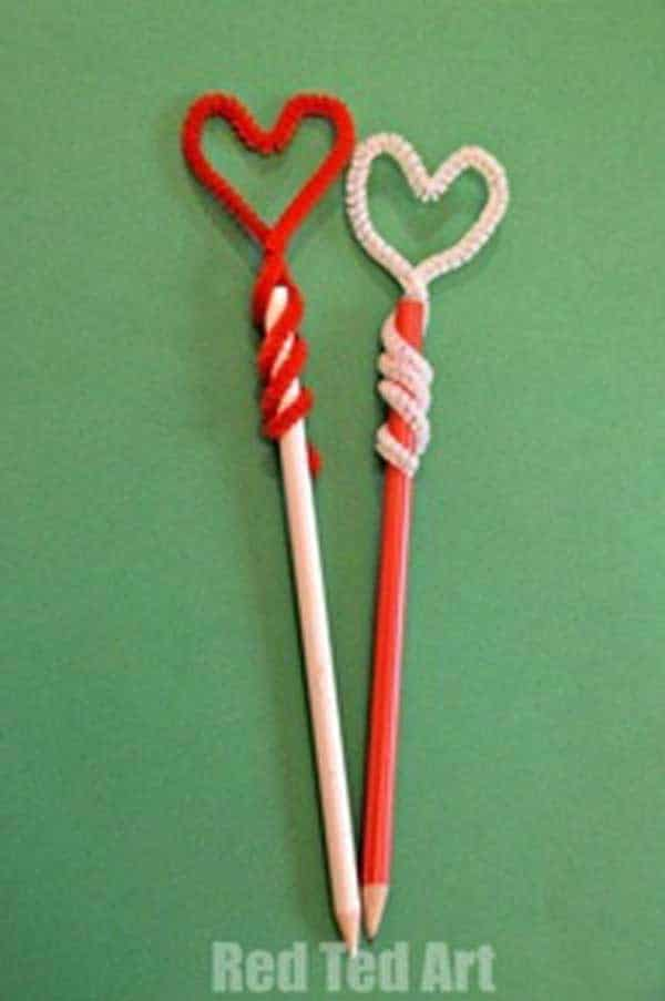 Heart shaped pipe cleaner pencil toppers