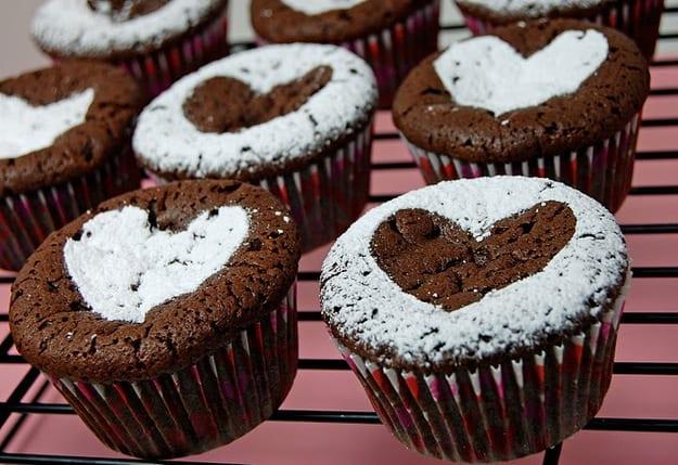 Heart stencil brownie cupcakes