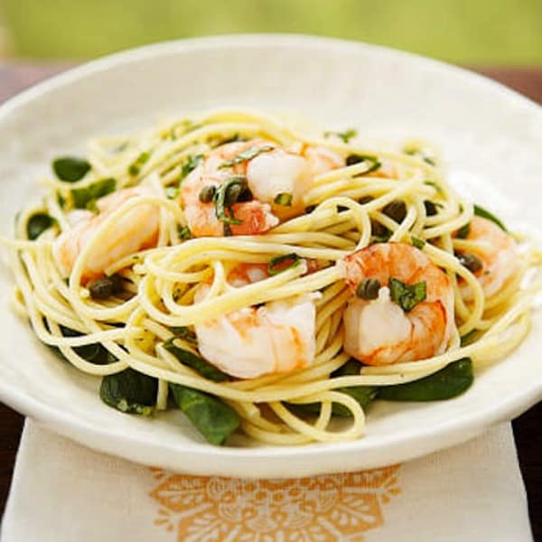 Lemon, basil, and shrimp pasta