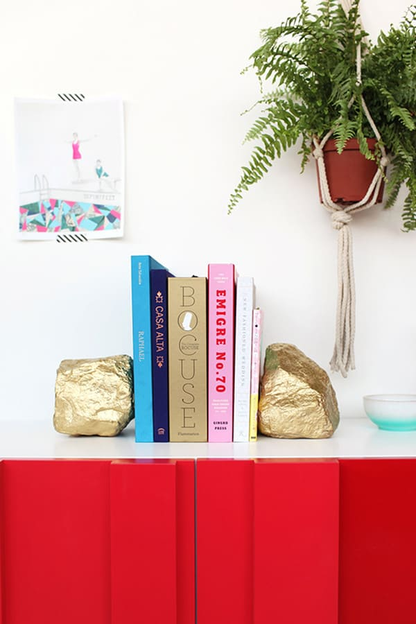 Metallic rock bookends