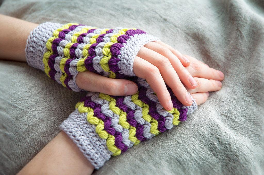Neon fingerless gloves
