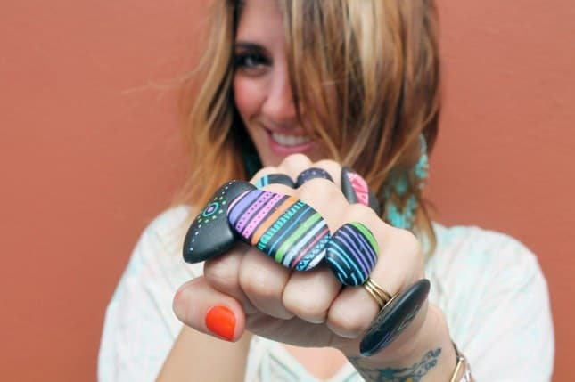Neon painted stones ring