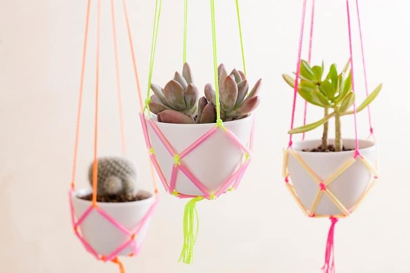Neon straw planters