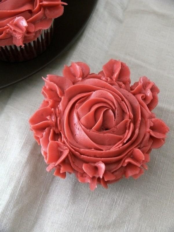 Red velvet pomegranate rose cupcakes