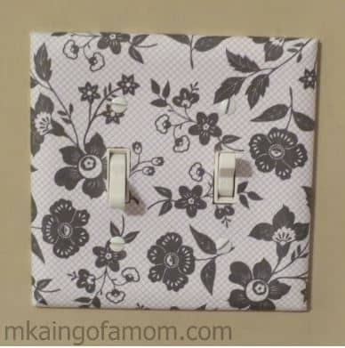 Scrapbook paper light switch plate