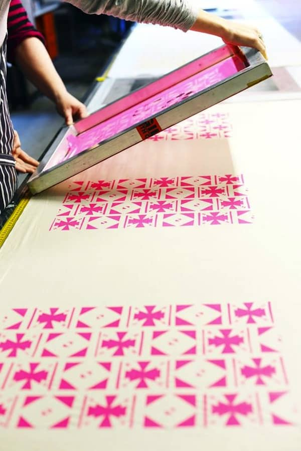 Screen printed sewing fabric