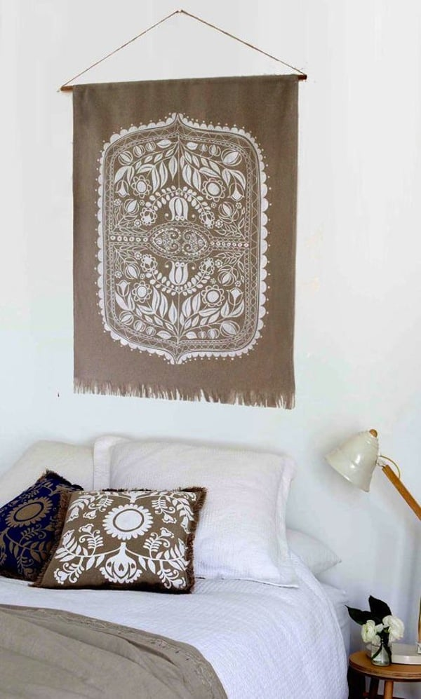 Silk screen patterened wall hanging