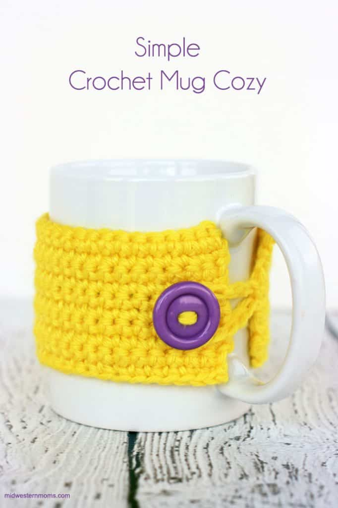 Yellow crochet mug