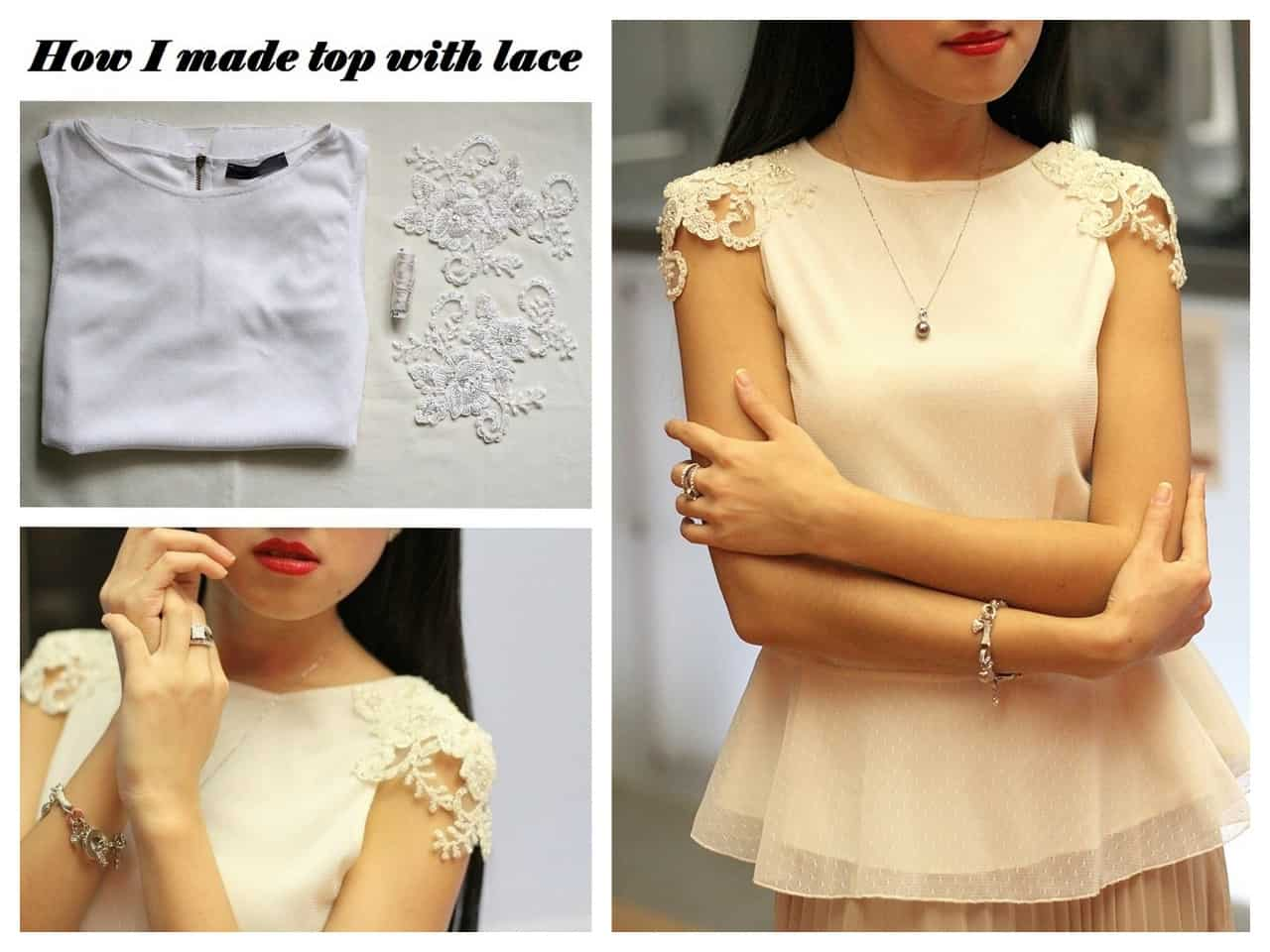 Beaded lace applique sleeve tops