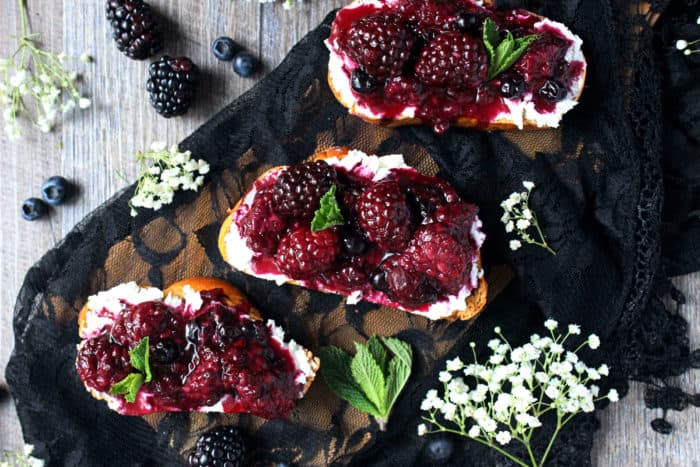 Blackberry goat cheese toast