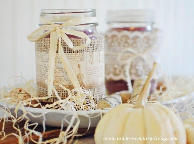 Burlap wrapped mason jar candle