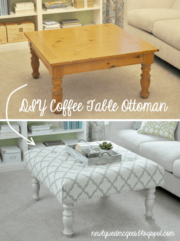 Coffee table to upholstered ottoman