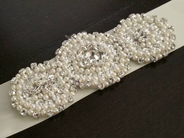 Crystal and pearl bead applique sash
