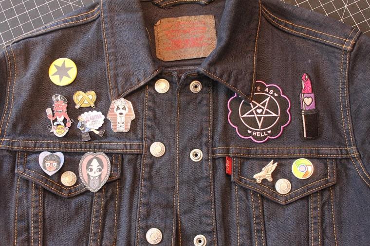 14. Custom Enamel Pin Denim Jacket