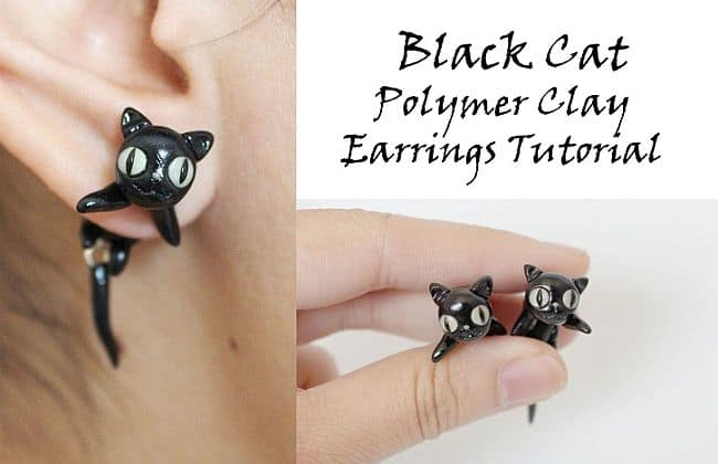DIY Black cats earrings