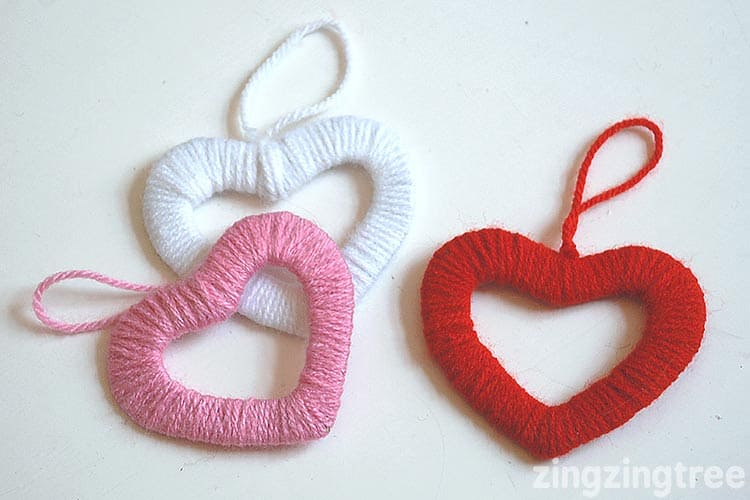 Decorative wool hearts