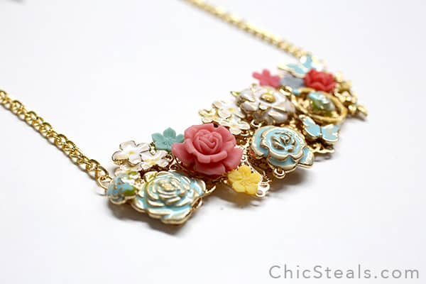 Enamel spring flower bib necklace