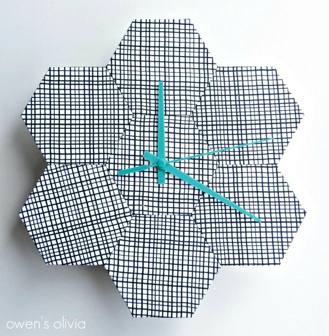 Fabric hexagon clock