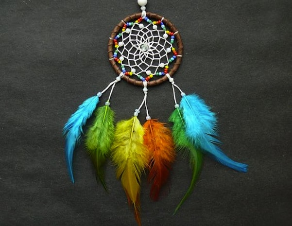 Feathered and beaded dreamcatchers