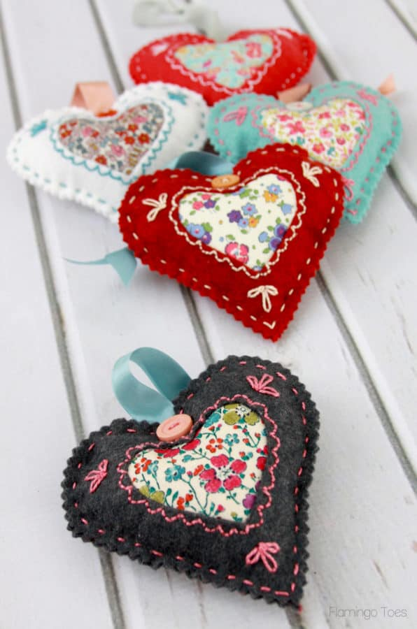 Felt and fabric heart sachet