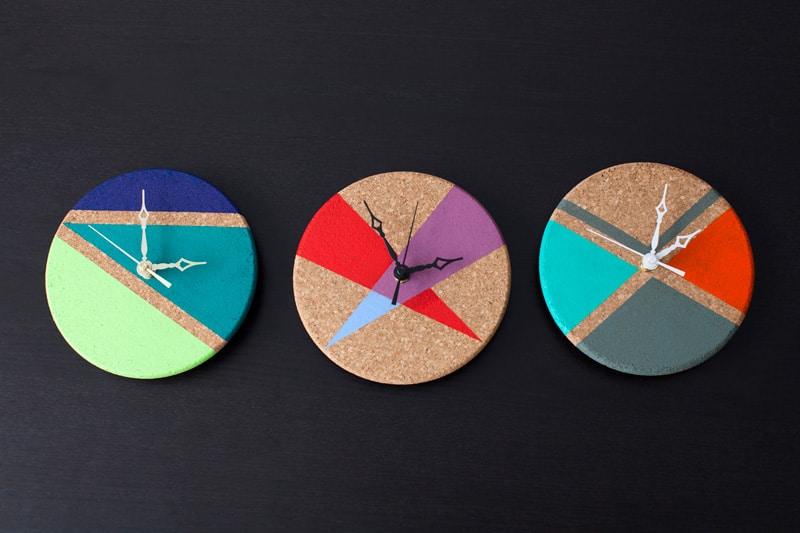 Geometric color block clocks
