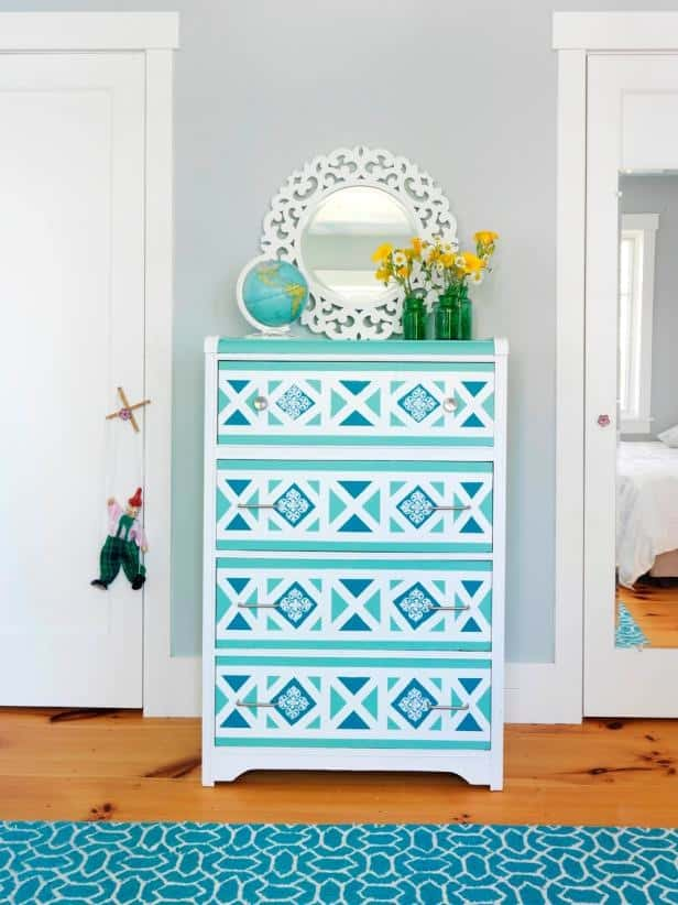 Geometric dresser drawers