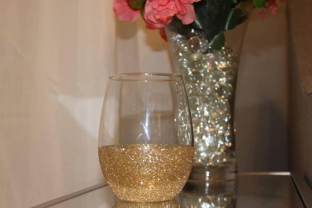 Glitter drinking glass