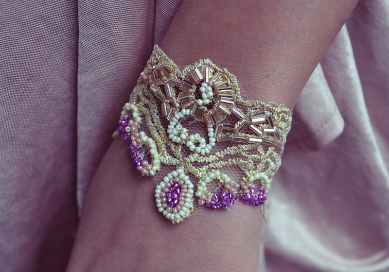 Gold lace and bead applique bracelet